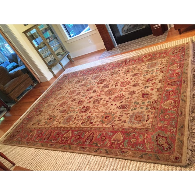 Designer Wool Rug Cream & Red - 8' x 11' - Image 2 of 10