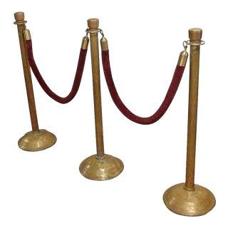 Antique American Theatre Brass Stanchions- 5 Pieces For Sale