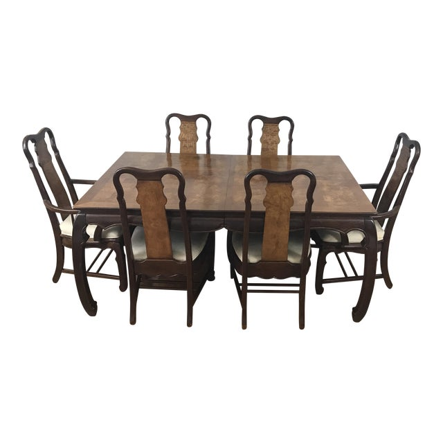 Chinese Chippendale Style Dining Table & Six Chairs- 7 Pieces - Image 1 of 11