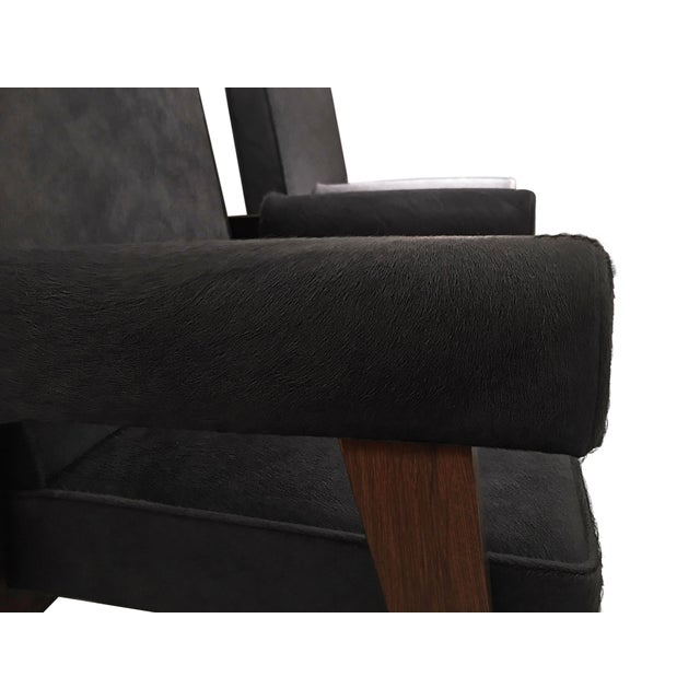 """1950s """"Advocate & Press"""" Bridge Style Lounge Chairs Upholstered in Brazilian Cowhide- a Pair For Sale - Image 5 of 7"""