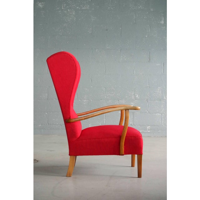 Red Danish Midcentury Wingback Lounge Chair Attributed to Fritz Hansen For Sale - Image 8 of 9