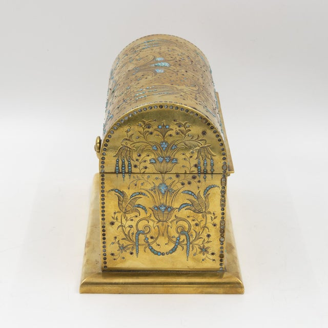 Mid 19th Century Rare Solid Brass Stationery Box Inlaid With Turquoise and Garnets, France, Circa 1860. For Sale - Image 5 of 11