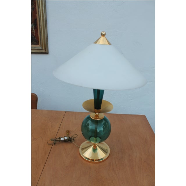 Contemporary Blue and Brass Lacquered Table Lamp - Image 3 of 11
