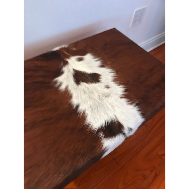 Metal Modern Cow Hide Upholstered Bench With Brass Legs For Sale - Image 7 of 13