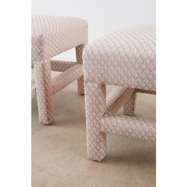Milo Baughman Style Parsons Ottoman Benches - a Pair For Sale - Image 12 of 12