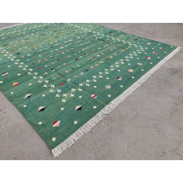 Textile Handmade Cotton Vegetable Dyed Green Shooting Star Rug For Sale - Image 7 of 11