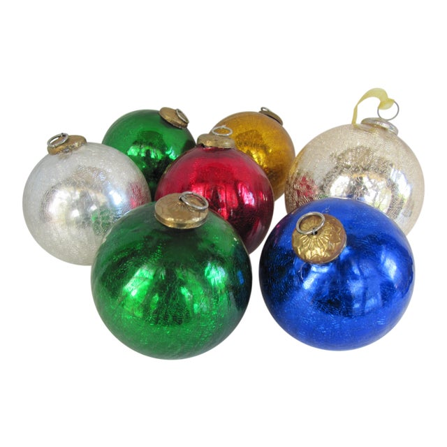 Colored Mercury Glass Ornaments - Set of 7 - Image 1 of 6