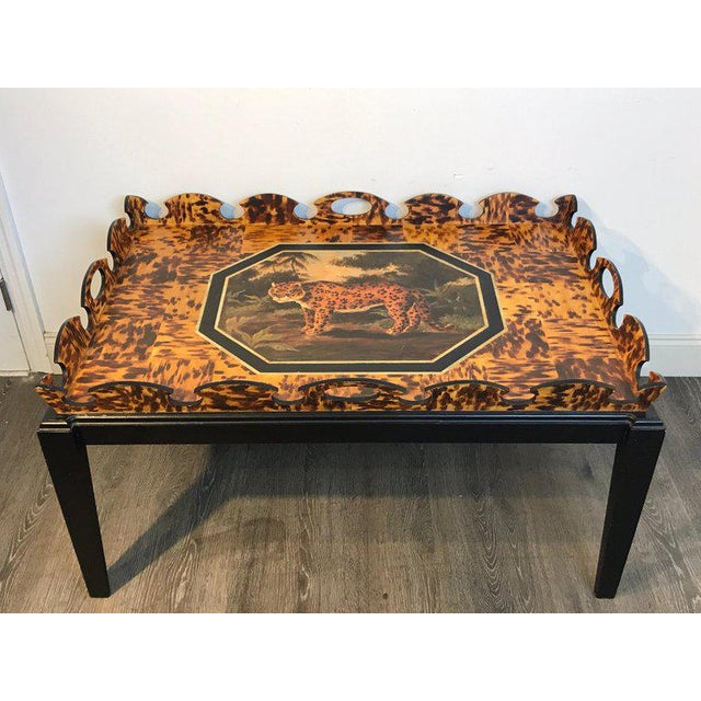 Regency Style Tortoiseshell & Jaguar Motif Coffee Table by William Skilling For Sale - Image 9 of 11