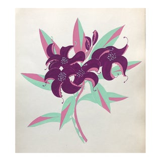 1950s Mid-Century Modern Floral Still Life by Weaver For Sale