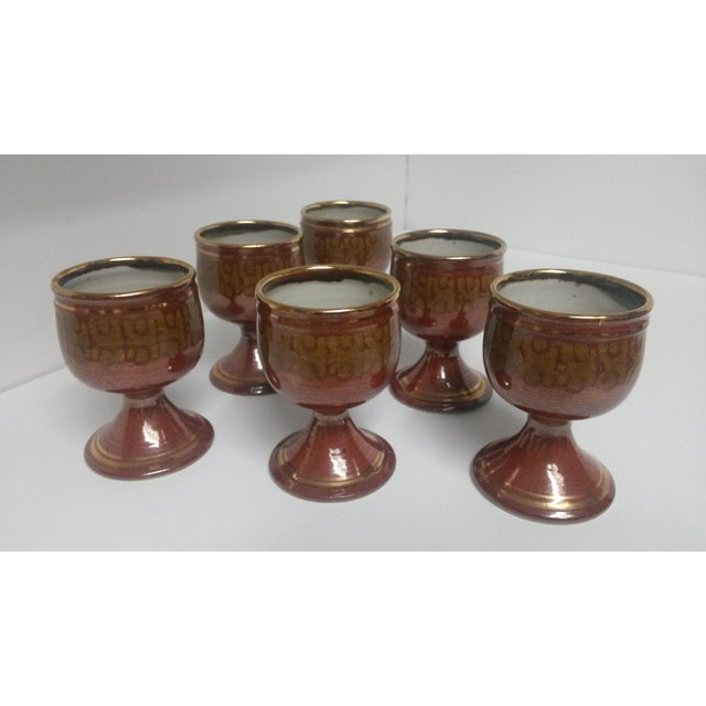 Mid-Century Artisan Pottery Rust and Gold Wine Goblets Signed Parker - Set of 6 For Sale - Image 13 of 13