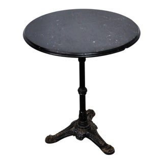 Italian Black Marble Bistro Table For Sale
