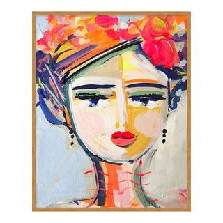 Citrus Girl by Maren Devine in Gold Frame, Small Art Print For Sale
