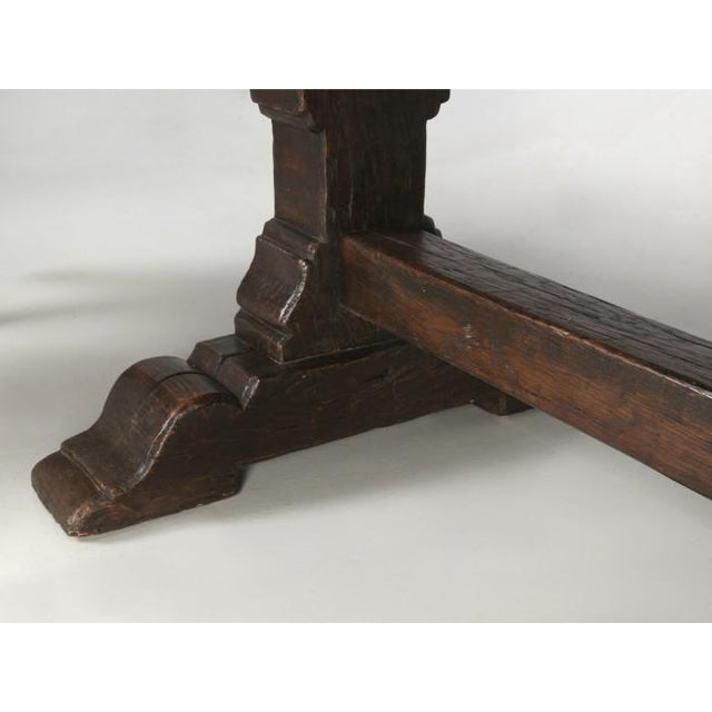 French Antique French Oak Trestle Dining Table For Sale - Image 3 of 13