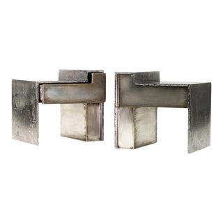 Industrial Silvered Brass Night or End Tables - a Pair For Sale
