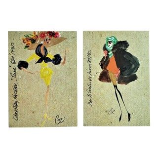 1990 Christian Lacroix Spring Summer Couture Runway Prints - a Pair For Sale