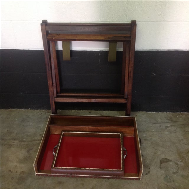 1950's Walnut and Acrylic Folding Bar For Sale - Image 9 of 10