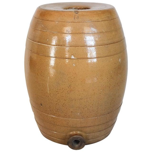 Mid 19th Century 10 Gallon Stoneware Keg Barrel For Sale