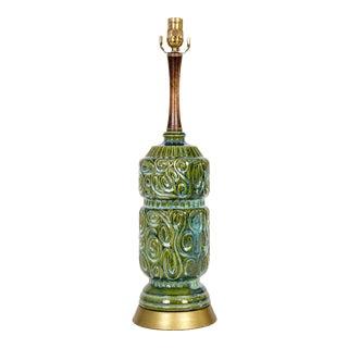 1960s Green Ceramic Swirl Texture Lamp W/ Walnut Neck & Brass Base For Sale