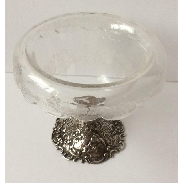European Etched Crystal & Silver Compote For Sale - Image 4 of 9