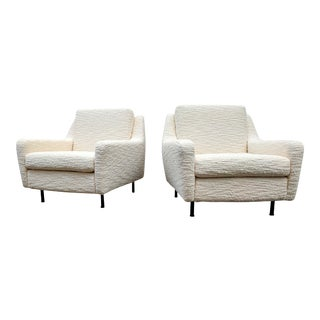 "1970s Italian Armchairs in Creme ""Bouclé"" Upholstery - a Pair For Sale"