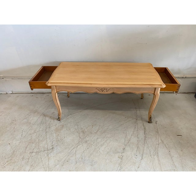 French Antique Coffee Table Louis XV Style With 2 Drawers Bleached For Sale - Image 6 of 11