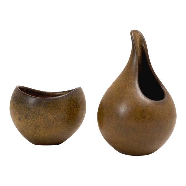 Danish Modern Ceramic Sugar and Creamer - Image 1 of 4