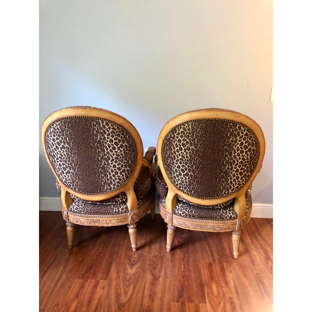 Hollywood Regency 1990s Vintage Maitland Smith Wood and Upholstered Louis XVI Style Chairs- a Pair For Sale - Image 3 of 4