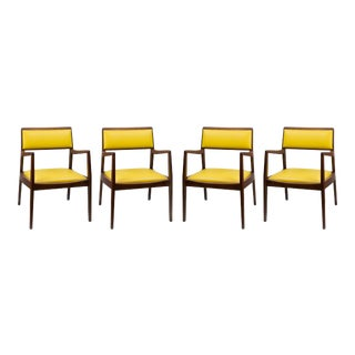 20th Century Scandinavian Jens Risom Playboy Arm Leather Chairs - Set of 4 For Sale