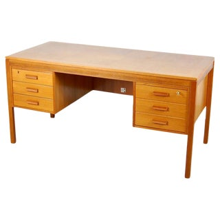 Vintage Scandinavian Modern Teak Locking Desk
