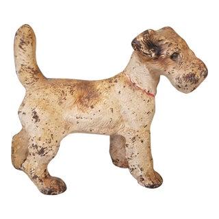 Antique Cast Iron Fox Terrier Door Stop For Sale