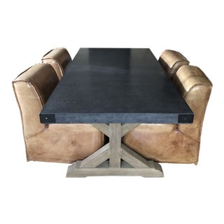 Restoration Hardware Concrete Dining Table and Chairs For Sale