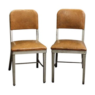 Vintage Vinyl and Steel Royal Metal Manufacturing Office Chairs - a Pair For Sale