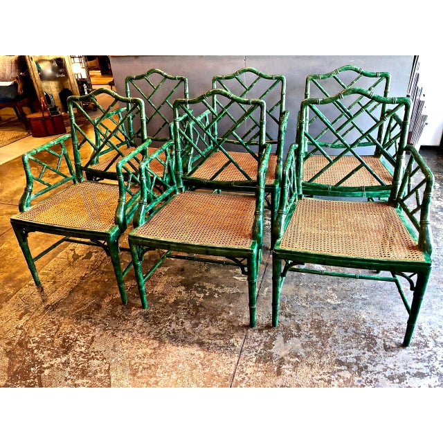 Chinese Chippendale Faux Bamboo Armchairs - Set of 6 For Sale In Los Angeles - Image 6 of 11