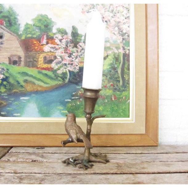 Bronze Antique Bronze Bird on Branch Candle Holder For Sale - Image 7 of 9