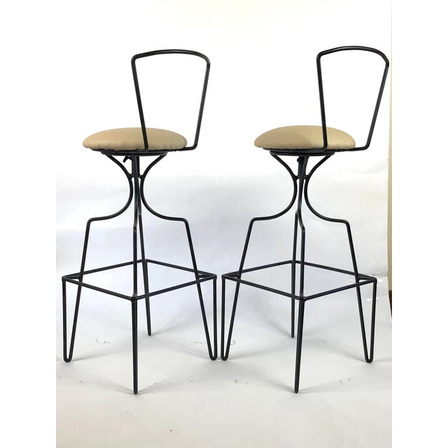 Mid Century Wrought Iron Swivel Bar Stools - a Pair For Sale In Buffalo - Image 6 of 10