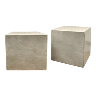 Vintage Limestone Cube Tables — a Pair For Sale