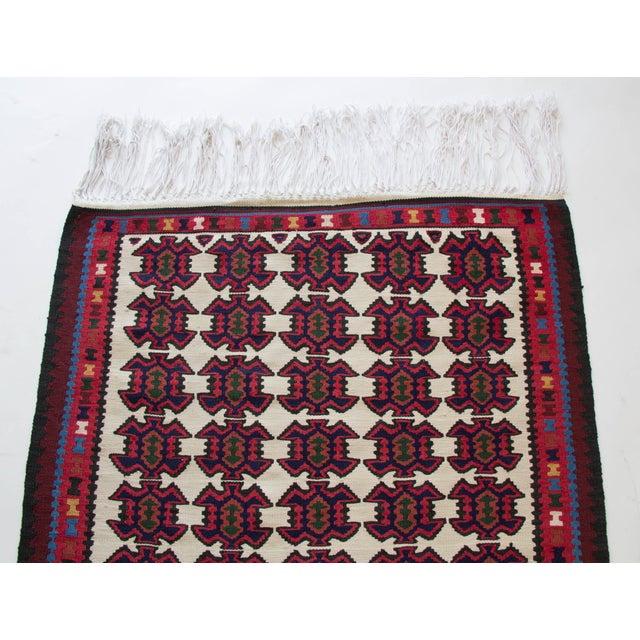 Turkish Jewel Toned Kilim Rug With Long Tassel For Sale - Image 4 of 6