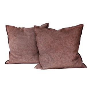 Baker Furniture Leather and Suede Pillows - a Pair For Sale