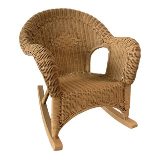Vintage Children's Rattan Rocking Chair For Sale