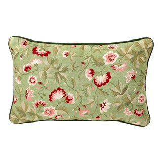 Vintage Hand Made Needlepoint Lumbar Pillow With Ginkgo Floral Motif For Sale
