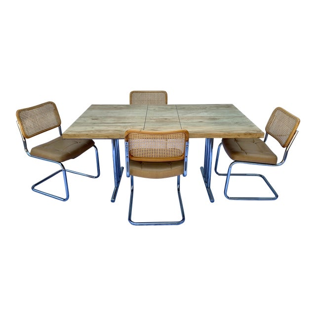 1980s Bauhaus Wicker and Chrome Dining Set - 5 Pieces For Sale