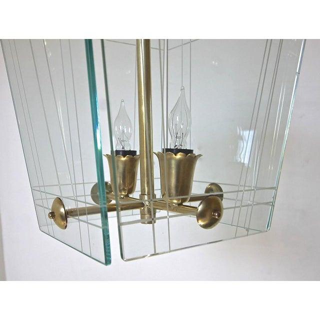 Fontana Arte 1950s Italian Fontana Arte Style Hall Entry Glass Pendant For Sale - Image 4 of 13