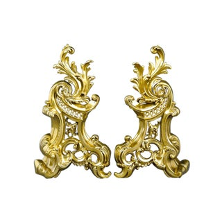 French Rococo-Style Brass Andirons For Sale