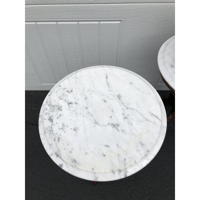 Italian Italian Marble-Top Accent Side Tables - a Pair For Sale - Image 3 of 12