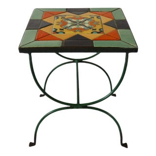 California Tile Table in Wrought Iron Base For Sale