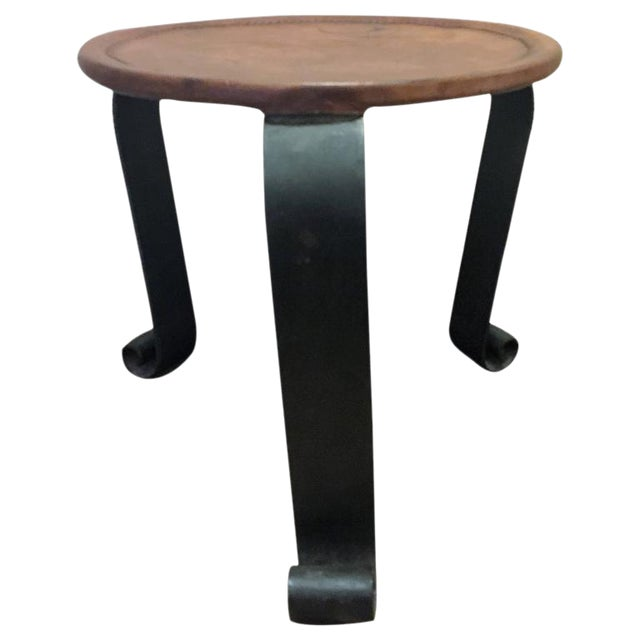 ELEGANT HERMES STYLE WHIPPED STITCHED LEATHER TOPPED IRON BASE TABLE For Sale