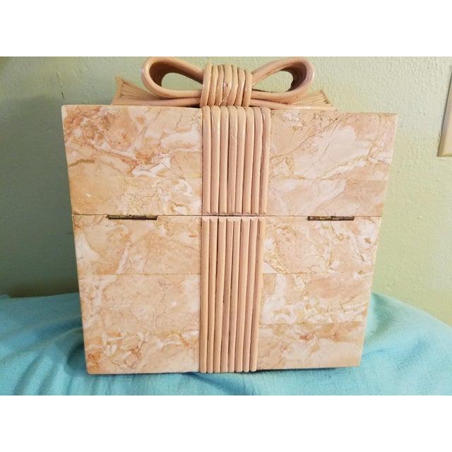 Hollywood Regency Vintage Coral Stone Veneer Ribboned Box For Sale - Image 3 of 7