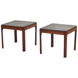 Pair of Coffee or Occasional Tables in Mahogany and Marble For Sale