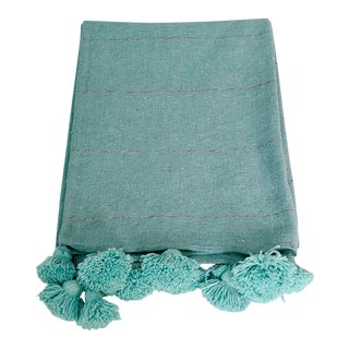Moroccan Turquoise Wool PomPom Blanket For Sale