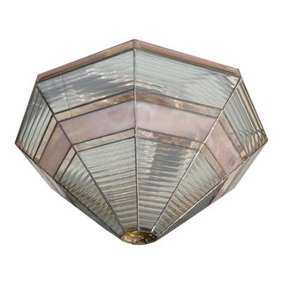 Keeling Leaded Ribbed & Pink Stained Glass Light Shade For Sale